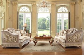 Luxury Metallic Bright Gold & Tan Sofa Set 3Pcs Traditional Homey Design HD-814