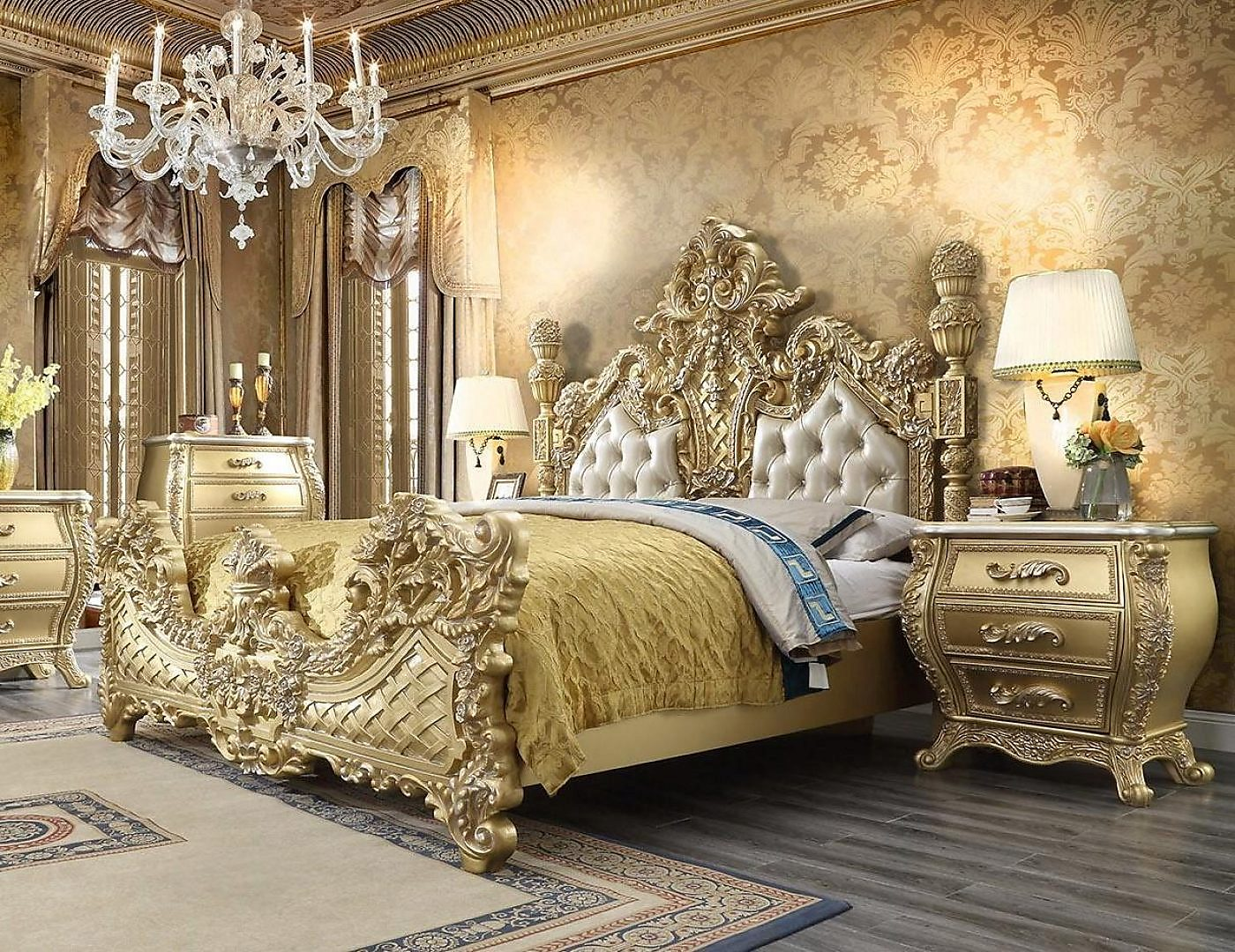 Metallic Antique Gold & Leather King Bed & Nightstand Traditional Homey Design HD-1801