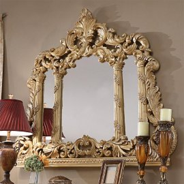 Metallic Antique Gold Finish Mirror Traditional Homey Design HD-1801