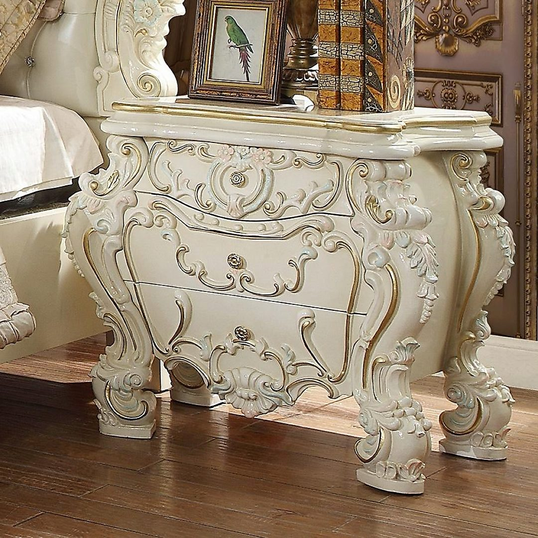 Glossy White Nightstand Set 2Pcs HD-8089 Homey Design Traditional Classic