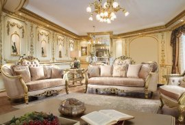 Luxury Champagne Silk Chenille Sofa Set 2P HD-663 French Province Homey Design