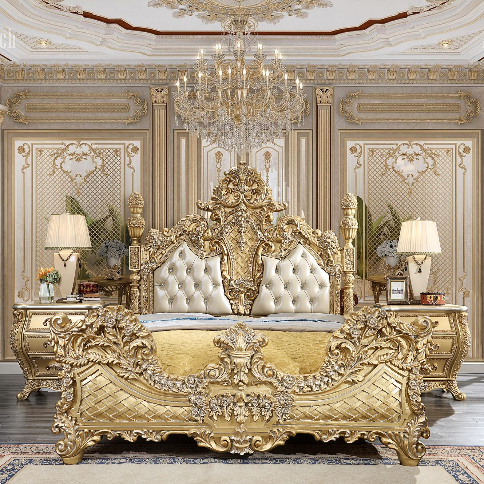 Metallic Antique Gold & Leather King Bed &2 Nightstands Traditional Homey Design HD-1801