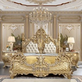 Metallic Antique Gold & Leather Cal King Bed &2 Nightstands Traditional Homey Design HD-1801
