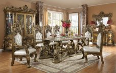 Brown Finish & Ivory Leather Dining Room Set 7 Pcs Traditional Homey Design HD-1802
