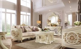 Cream Finish Sofa & Loveseat Set 2Pcs Traditional Style Homey Design HD-2011