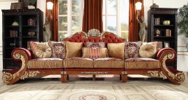 Luxury Cherry Gold Silk Chenille Sectional Sofa Set 5Pcs HD-2575 Homey Design