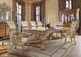 Regal Dining Room Set 8 Pcs Carved Wood HD-8024 Homey Design Traditional