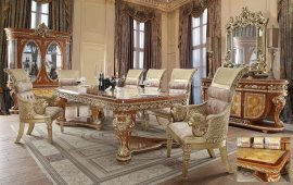 Regal Dining Table Set 8 Pcs w/Buffet Carved Wood HD-8024 Homey Design Classic