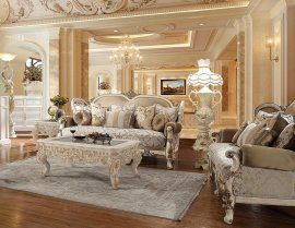 Vintage White Sofa & Loveseat Set 2Pcs Traditional Homey Design HD-2652