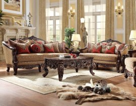 Dark Walnut & Hazelnut Sofa & Loveseat Set 2Pcs Traditional Homey Design HD-2655