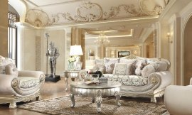 Sofa & Loveseat Set in Belle Silver Fabric Traditional Homey Design HD-2656