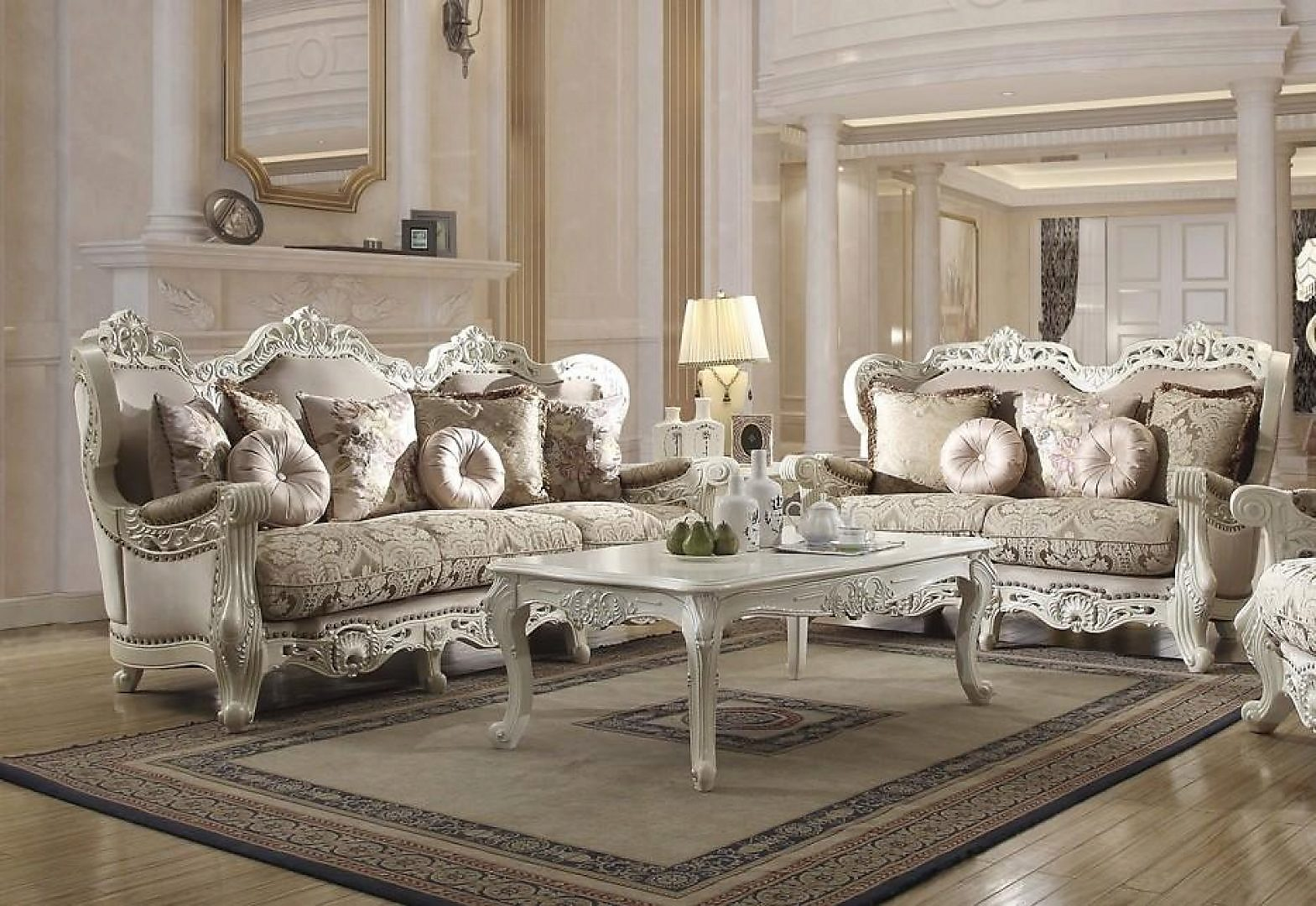 Sofa & Loveseat Set 2Pcs in Antique Ivory Fabric Traditional Homey Design HD-2657