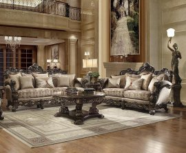 Brown Cherry Finish Sofa & Loveseat Set 2Pcs Traditional Homey Design HD-2658