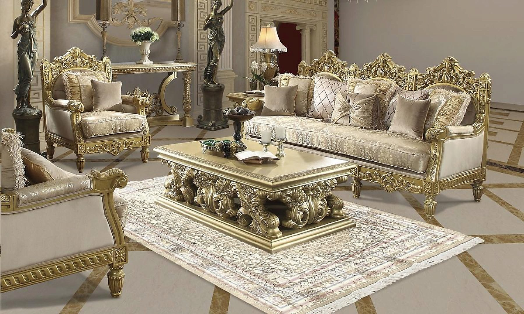 Metallic Bright Gold Finish Sofa & Loveseat Set 2Pcs Traditional Homey Design HD-2659