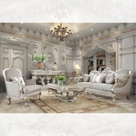 Metallic Silver Finish Sofa & Loveseat Set 2Pcs Traditional Homey Design HD-2662