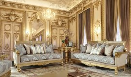 Metallic Bright Gold Sofa & Loveseat Set 2Pcs Traditional Homey Design HD-2666