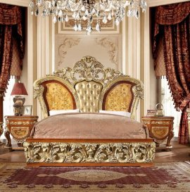 Luxury KING Bedroom Set 3 Psc Gold Curved Wood HD-8024 Homey Design Classic