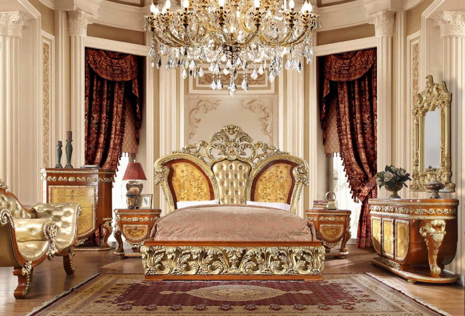 Luxury KING Bedroom Set 6 Psc Gold Curved Wood HD-8024 Homey Design Classic