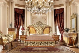 Luxury KING Bedroom Set 7 Psc Gold Curved Wood HD-8024 Homey Design Classic
