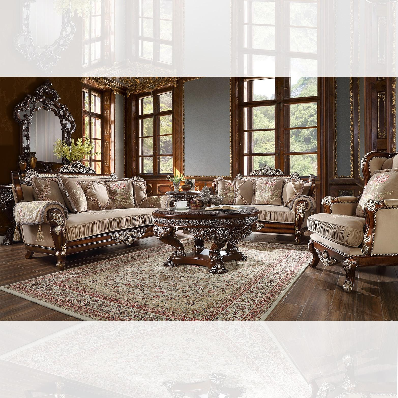 Custom Burl & Antique Silver Sofa & Loveseat Set Traditional Homey Design HD-562
