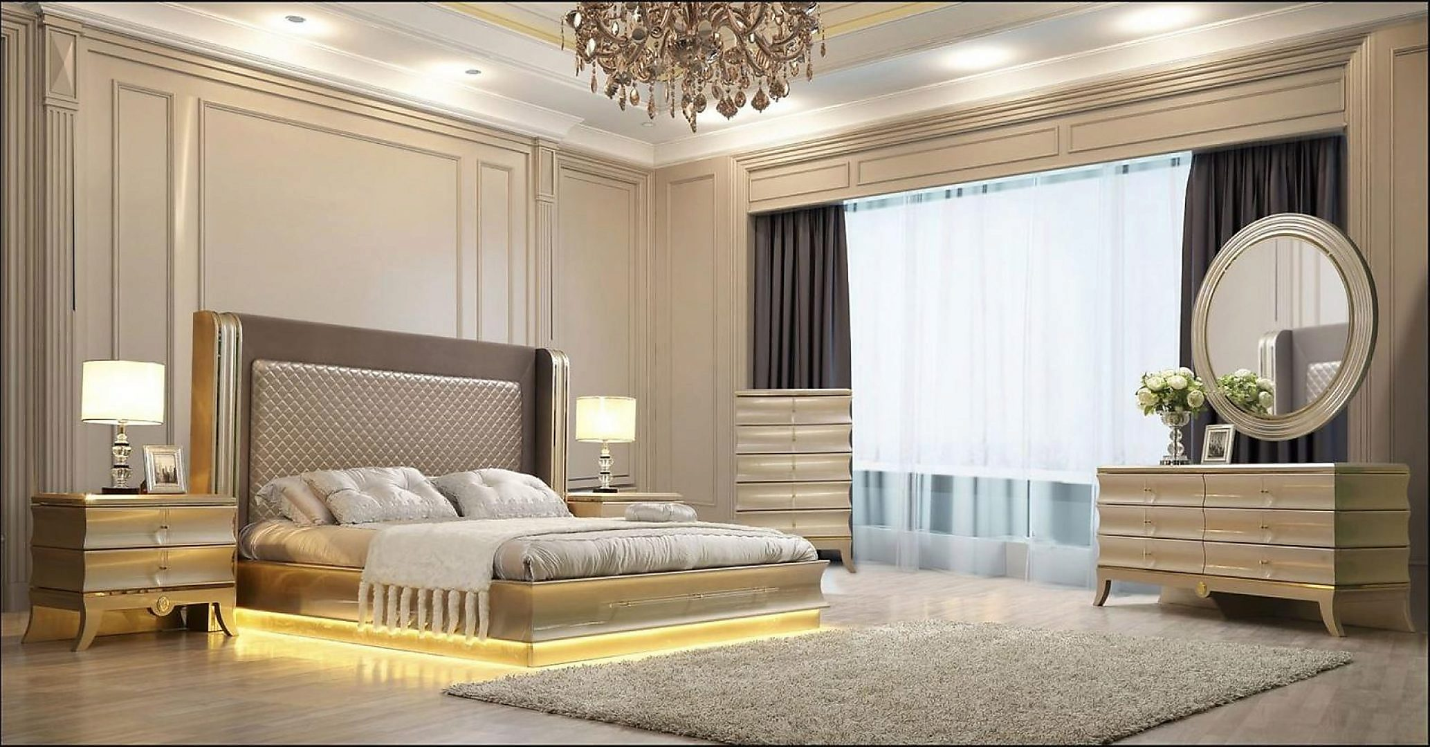 Glam Belle Silver & Gold KING Bedroom Set 3Psc HD-925 Homey Design Contemporary