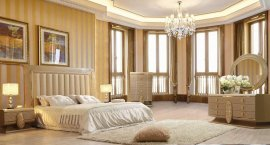 Glam Ultra High Hdb Champagne KING Bedroom Set 3 Pcs HD-922 Homey Design Modern