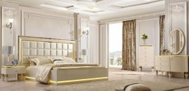 Quilted Hdb Glossy Ivory KING Bedroom Set 6 Pw/ Led L-s HD-9935 Homey Design