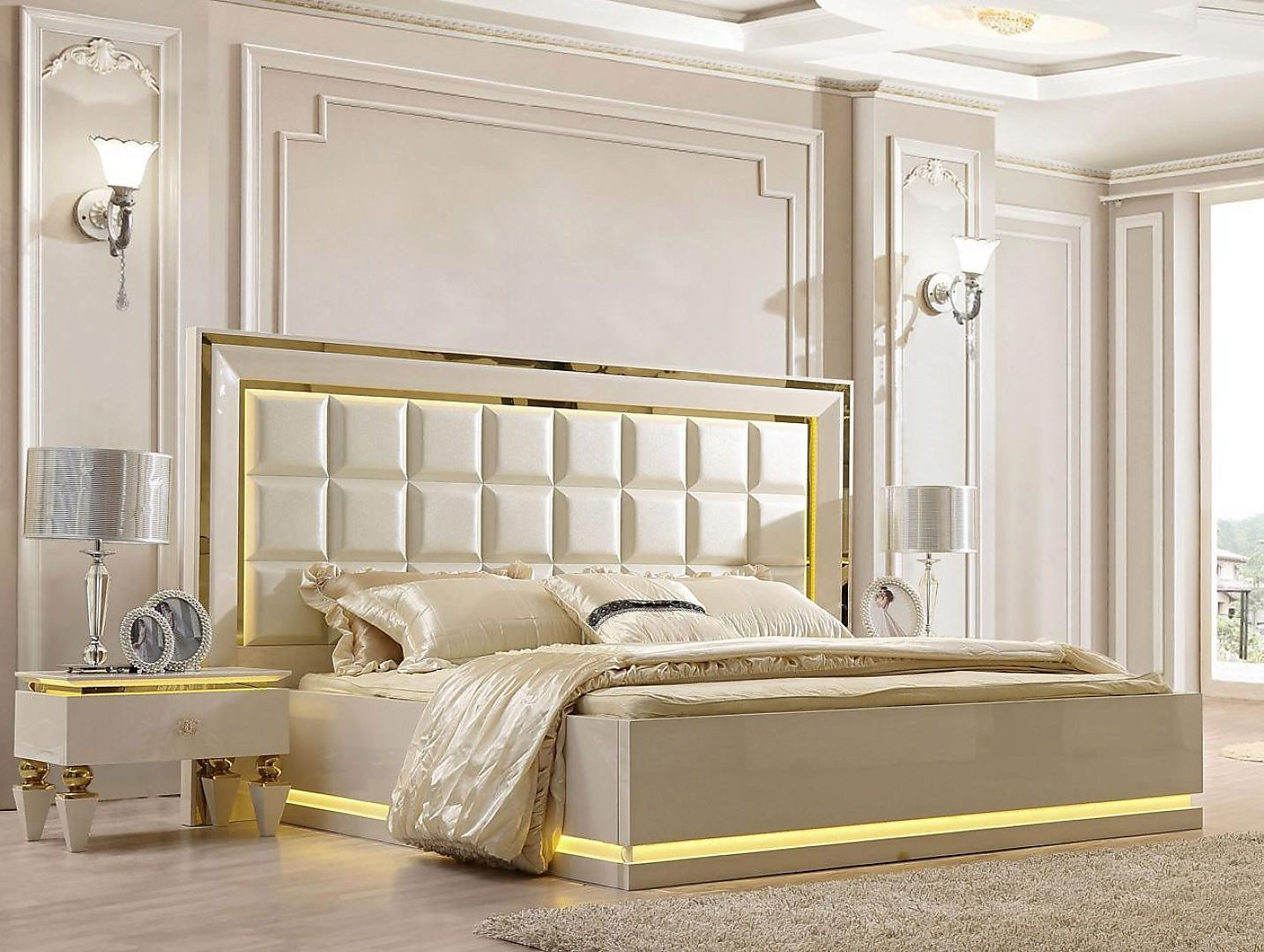 Quilted Hdb Glossy Ivory KING Bedroom Set 3P w/ Led L-s HD-9935 Homey Design
