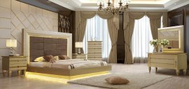 Glam Belle Silver KING Bedroom Set 6Pcs HD-918 Homey Design Traditional Modern