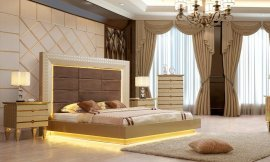 Glam Belle Silver KING Bedroom Set 3Pcs HD-918 Homey Design Traditional Modern