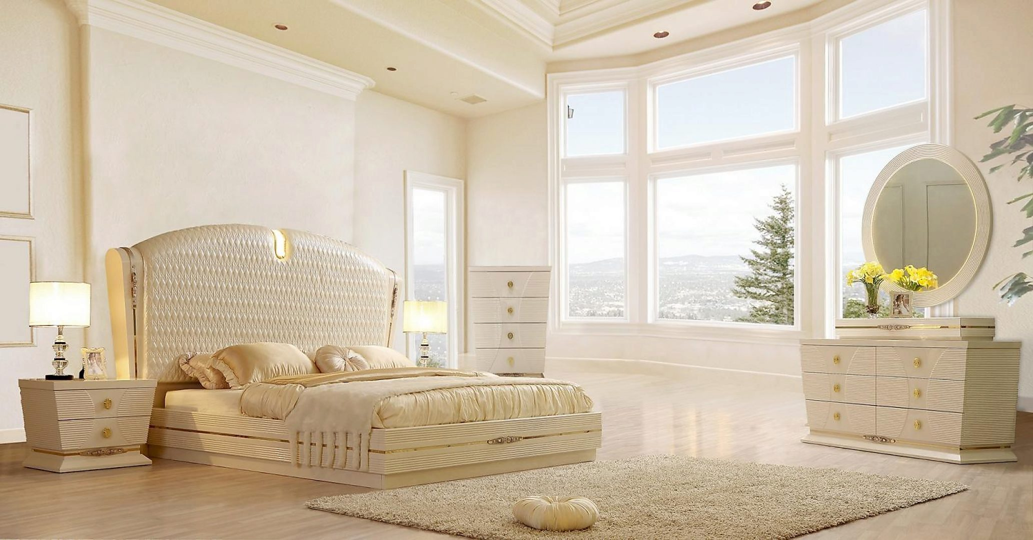 Glossy White Diamond HD-d KING Bedroom Set 6P HD-914 Homey Design Contemporary