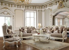 Luxury White & Tan Finish Sofa and Loveseat Set 2Pcs Traditional Homey Design HD-90