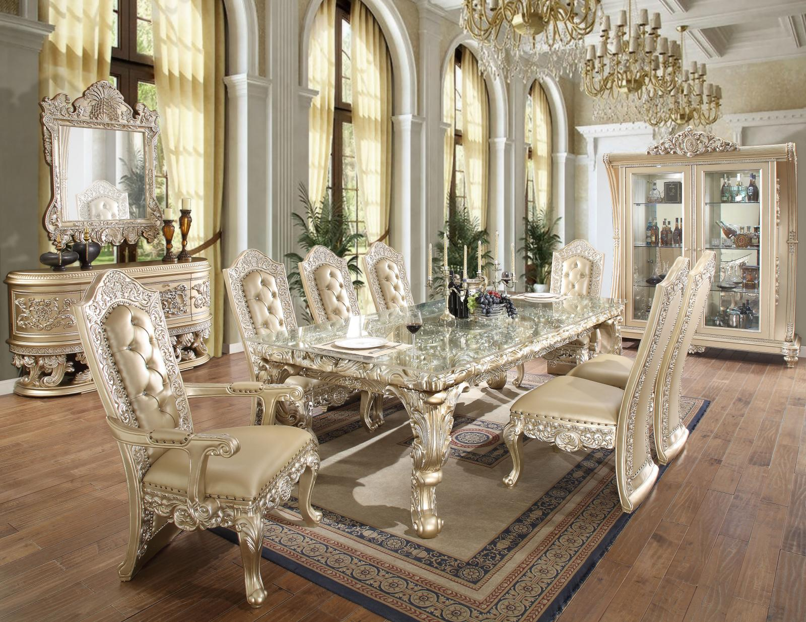 Luxury Belle Silver Dining Room Set 10P w/ China HD-8022 Homey Design Classic