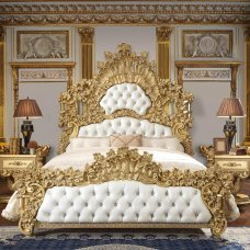 Baroque Rich Gold King Bedroom Set 3Pcs Carved Wood HD-8086 Homey Design Classic
