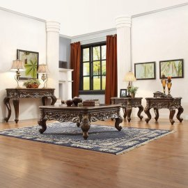 Occasional Tables Set 4Pcs Brown Carved Wood HD-1306 Homey Design Classic