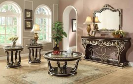 Console Table Set 4 Pcs Brown Cherry Carved Wood HD-213 Homey Design Traditional