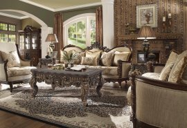 Dark Walnut & Beige Sofa & Loveseat Set 2Pcs Traditional Homey Design HD-92