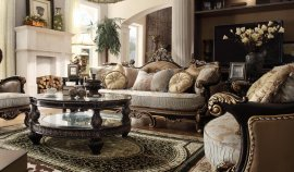 Victorian Sage Fabric Golden Cherry Finish Sofa & Loveseat Set Homey Design HD-551