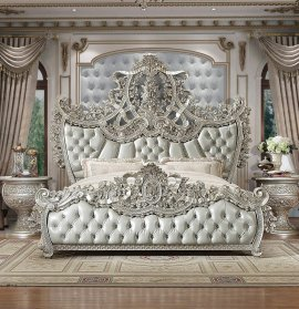 Baroque Belle Silver KING Bedroom Set 3 Pcs Homey Design HD-8088 Traditional