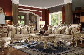 Metallic Bright Gold Sofa & Loveseat Set 2Pcs Traditional Homey Design HD-04