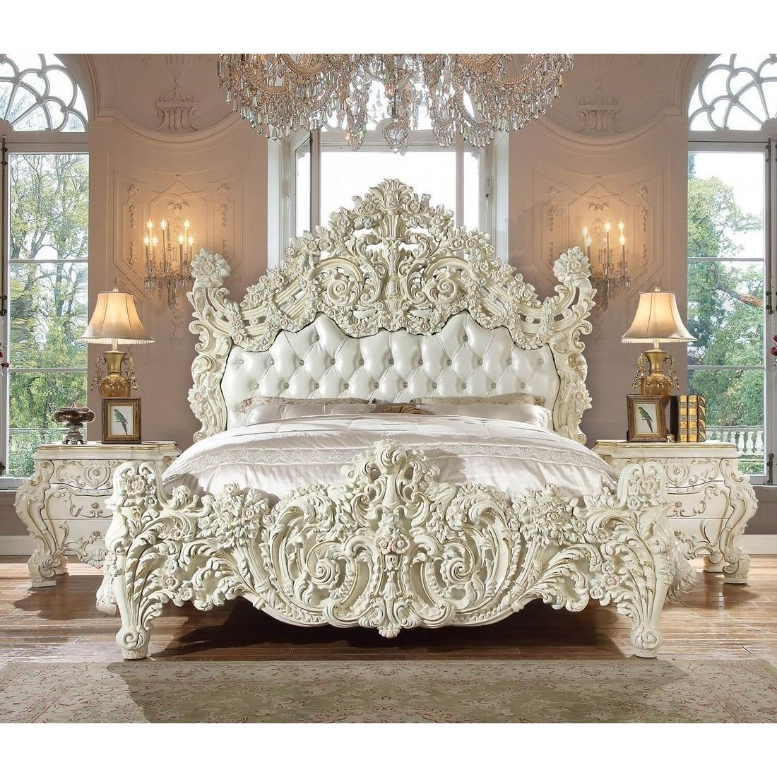 Luxury Glossy White KING Bedroom Set 3P Carved Wood HD-8089 Homey Design Classic