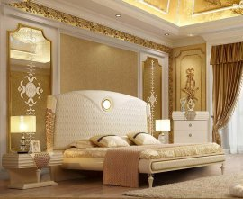 Luxury King Bedroom Set 3 Pcs Cream Leather HD-901 Homey Design Traditional