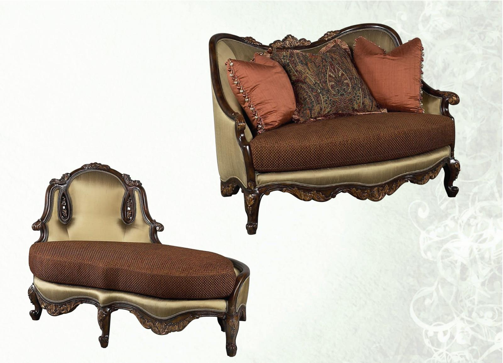 Bennetti Newport Bronze Silk Chenille Luxury Chair 1/2 & Chaise Lounge Set 2P Abrianna Chair 1/2 Chaise Lounge