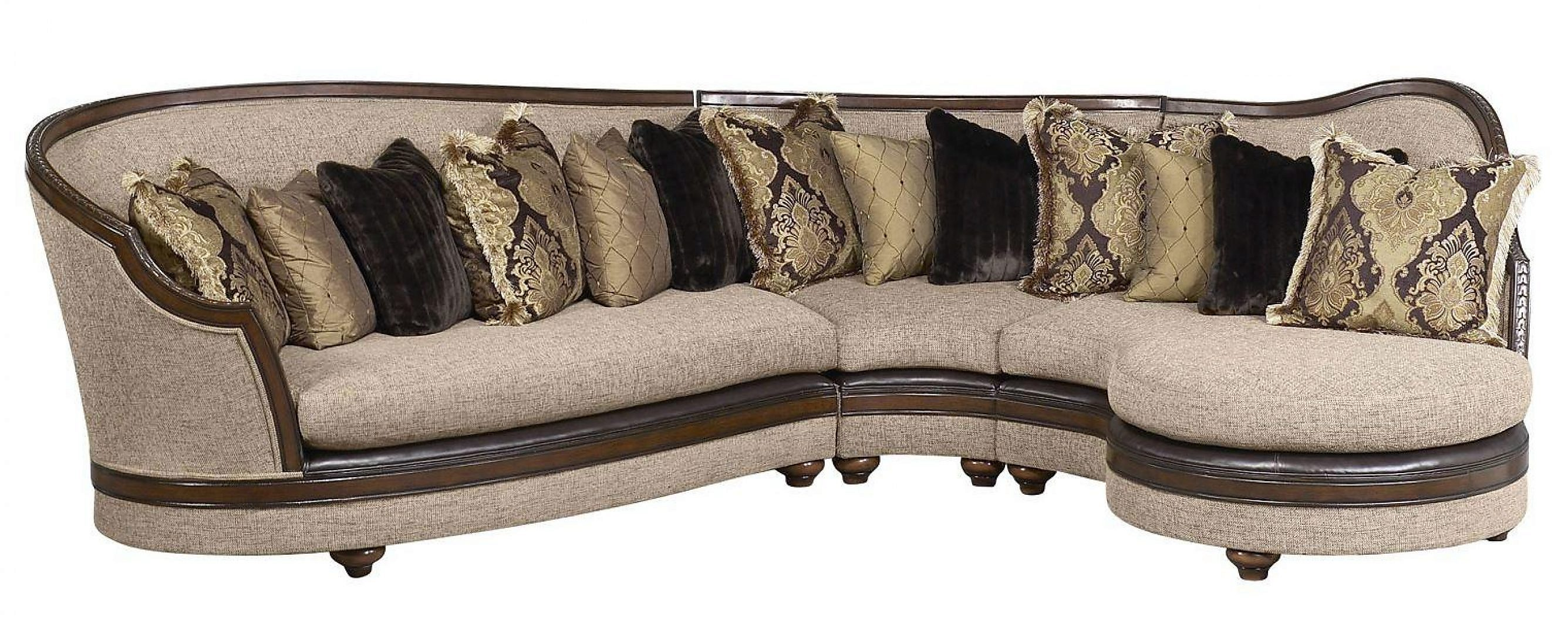 Bennetti Latte Beige Fabric Sectional Sofa Walnut Wood Donatella Sectional Right  RIGHT Classic Traditional