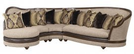 Bennetti Latte Beige Fabric Sectional Sofa Walnut Wood Donatella Sectional Right  LEFT Classic Traditional