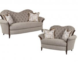 Bennetti Luxury Button Tufted Grey Chenille Sofa Set 2Pcs Elena Sofa Loveseat Traditional Classic
