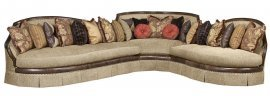 Bennetti Walnut Wood Beige Fabric Luxury Curved Sectional Sofa Ferrara Sectional LEFT LEFT