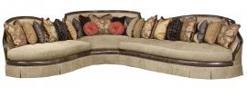 Bennetti Walnut Wood Beige Fabric Luxury Curved Sectional Sofa Ferrara Sectional RIGHT  RIGHT