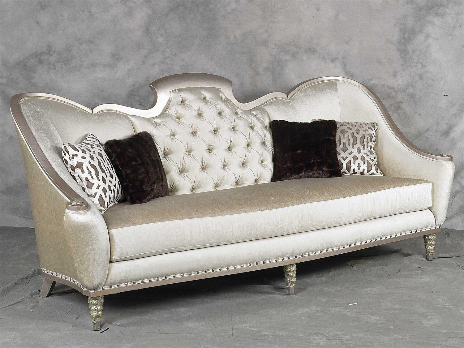 Bennetti Luxury Silver Wood Pearl Chenille Tufted Sofa Sofia Sofa  Classic Traditional