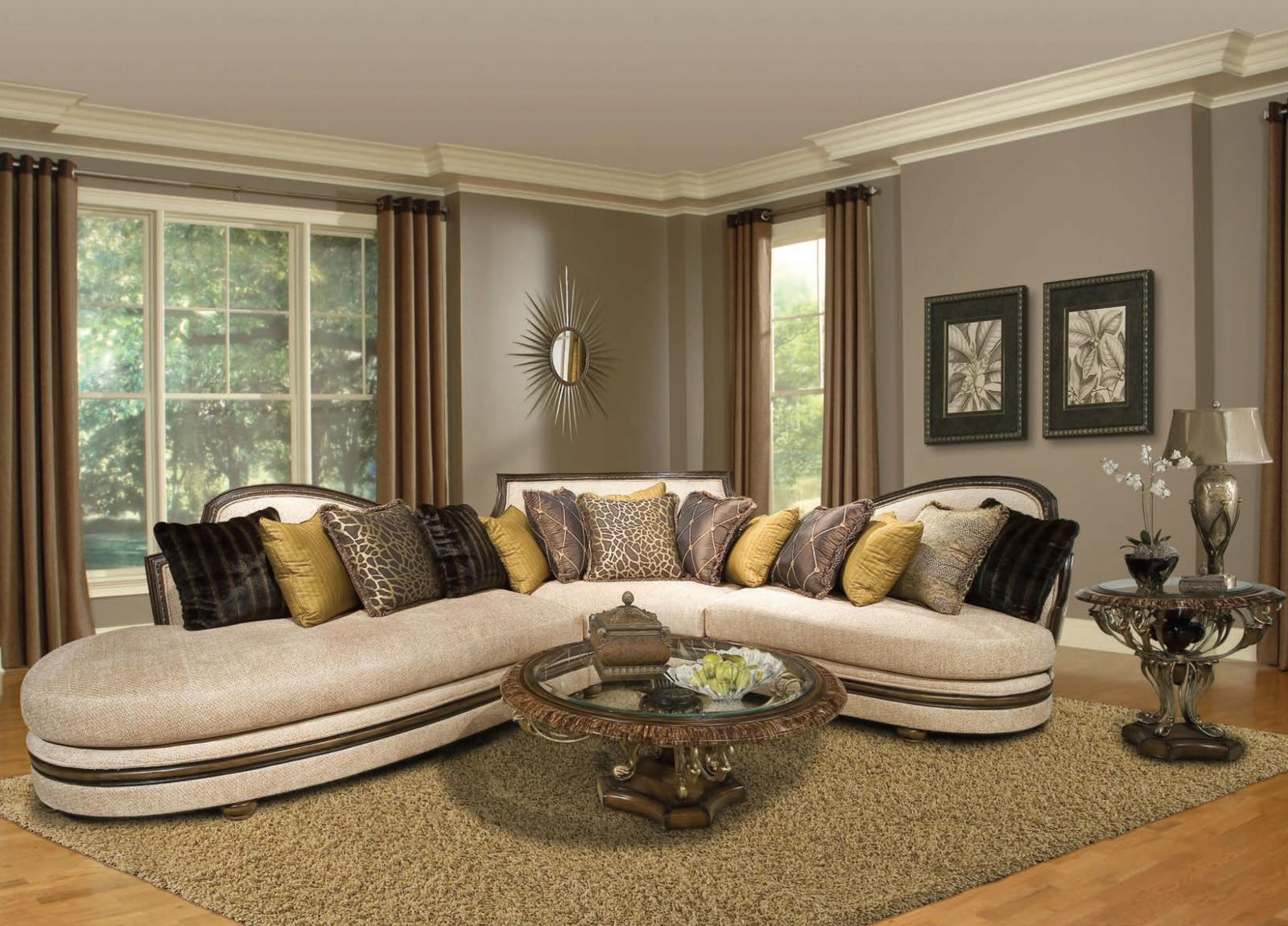 Bennetti Cream Chenille Luxury Sectional Sofa Dark Wood Ravenna Sectional-RIGHT RIGHT Traditional